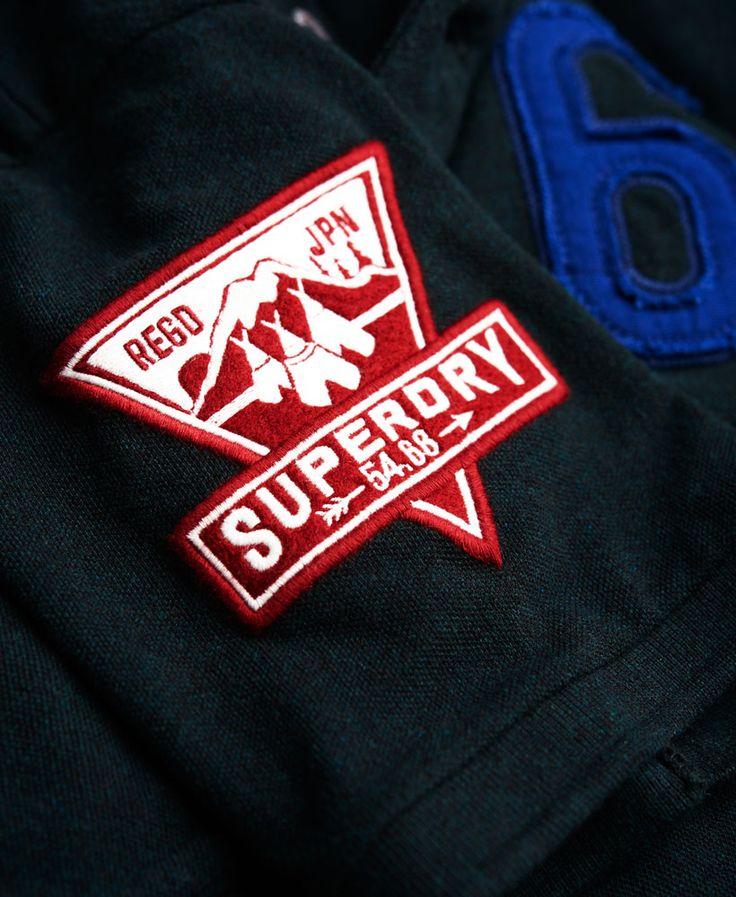 Mens - Wilderness Pique Polo Shirt in Dark Enamel Green Jaspe | Superdry