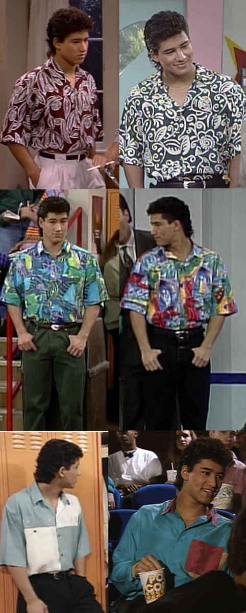 """Slater's fancy shirts.   The Ultimate Guide To """"Saved By The Bell"""" Fashion"""