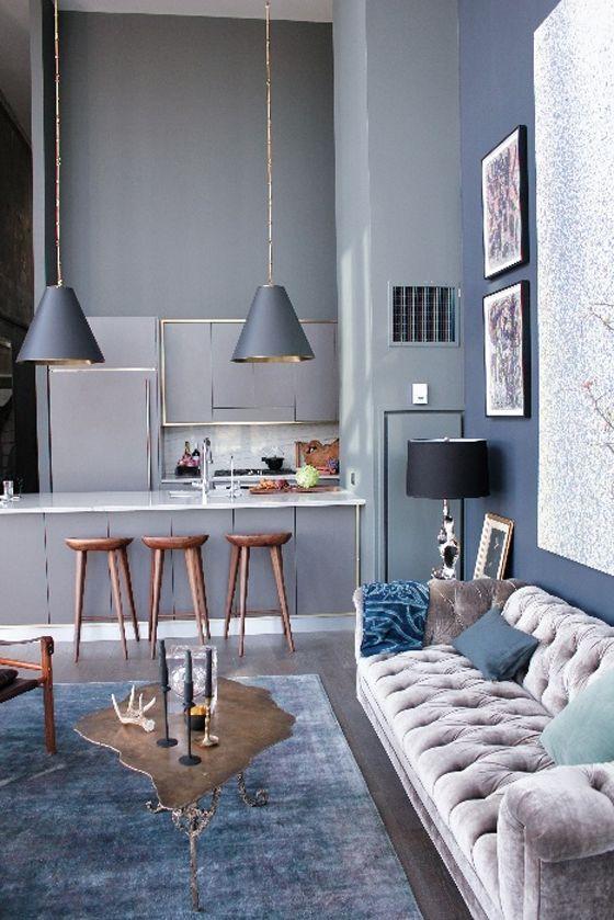 mavi dekorasyon fikirleri ev dekorasyonu duvar mobilya esya rengi gri mavi acik plan mutfak salon