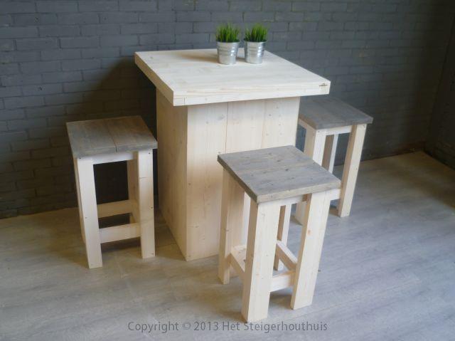 Steigerhout bartafel blok op maat gemaakt door www.hetsteigerhouthuis.nl