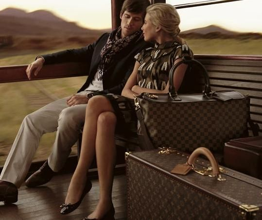 Louis Vuitton Ad 2010.  A handsome man, beautiful luggage, and an unknown destination.  Count me in!