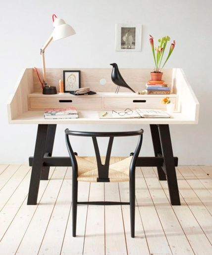 home office with the perfect pet...Eames house bird ;)