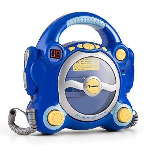 auna Pocket Rocker Lecteur CD karaoké enfant (enceintes stéréo intégrées, 2 micros, sortie jack pour casque, écran LCD, forme arrondie) –…