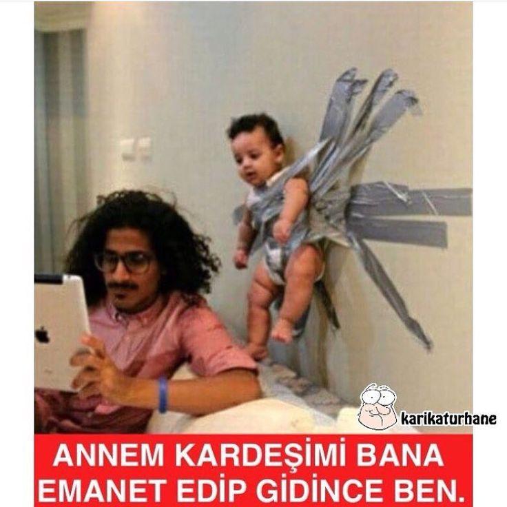 Annem kardeşimi bana emanet edip gidince ben. :)  #mizah #matrak #komik #espri #şaka #gırgır #komiksözler #caps