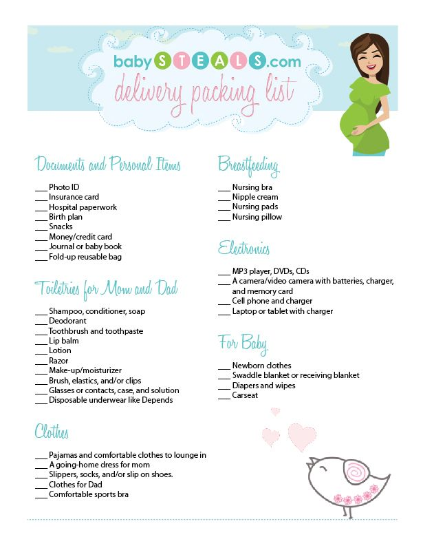 It's just a graphic of Challenger Printable Hospital Bag Checklist for Labor and Delivery