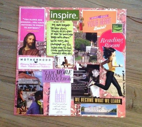 Y W activity idea- create a Vision Board and talk about setting goals - easy and fun, a good way to get to know eachother