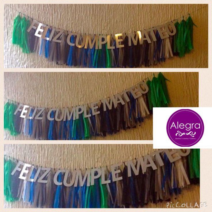 Letrero personalizado + guirnalda de mechudos $280, a la venta en www.alegrafiestaboutique.com  Letrero, banner, guirnalda, Mateo, decoración de feliz cumpleaños. Fiesta de niños.