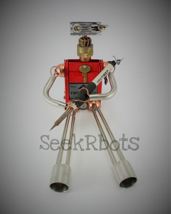 Recycled Robot Print Wall ArtScifi Photography Robot by SeekRbots Now available on my my Etsy Store. #seekrbots #steampunk #robots #fobots #upcycle #recycle #scifi #wallart #assemblage #art