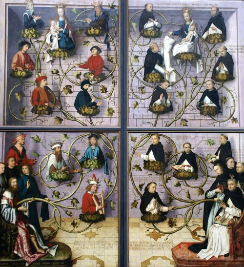 """theraccolta:  """" High Altar of the Dominican Church of Frankfurt by Hans Holbein the Elder depicting the Tree of Jesse and the Geneological Tree of the Order of Preachers """""""