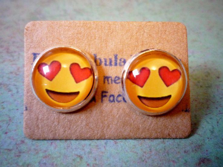 Love emoji earrings, Heart Emoji Earrings, Love Earrings, Heart Earrings, Happy Face, Emoji earring, Heart emoticon, love emoticon, smile by BlueNebulaWorks on Etsy