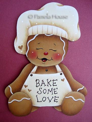Bake Some Love Gingerbread, would be so cute paper pieced and framed, to sit in the kitchen at Christmas.