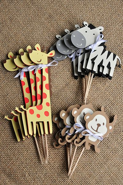 "Our Confetti Momma ""Zebra Cupcake Toppers"" are perfect for adding a little flair to your jungle or safari theme baby shower or birthday party."