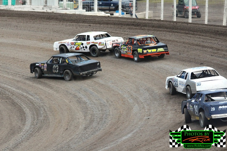 Street Stock Racing at River Cities Speedway is very competitive and this photo shows how tight the racing is and how awesome the Street Stock Racing is at The Legendary Bullring Grand Forks ND