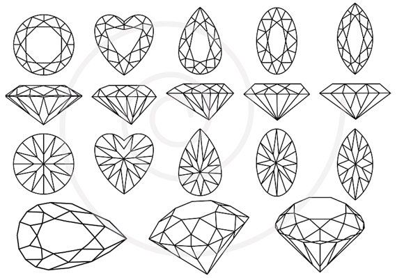 """This is """"Diamonds and gem stones jewels"""" by Illustree. This file features lineart of gemstones in different cuts from different angles. Each gemstone features a radial pattern of its own, all created with just a few simple lines."""