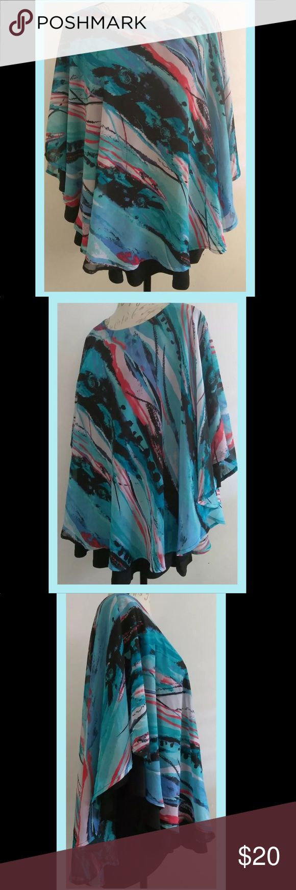 18/20 EUC Avenue Women's Batwing Top 18/20 Avenue Women's Blouse (Batwing Style). Beautiful shades of Blue, Turquoise, Coral, Black and White (sheer) lined in Black Batwing Style underlay (polyester). Dress it up or down with jewelry, jeans or trousers. Flattering and forgiving- can't go wrong! Bundle and save! PRICE REDUCED- FIRM ON SINGLE!! Avenue Tops