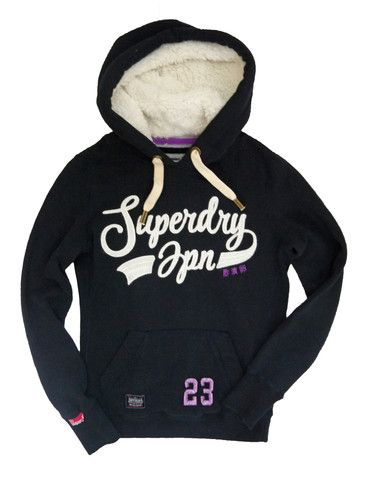 Superdry Womens Core Applique Sherpa Hood - Eclipse Navy - Christmas Gift