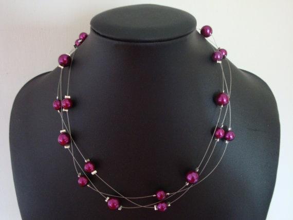 Purple Pearl Floating Necklace by traceysjewellery on Etsy, £8.99