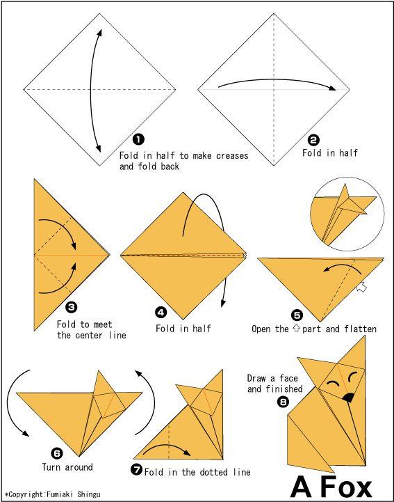 Fox, origami, paper making, paper folding, japanese origami, diy, craft, creative