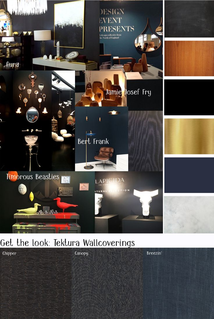 Dark Glam Walls - Dark midnight blue, deep navy, charcoal, chalky dark grey, and velvety black. Paired with marble, leather, gold and orange toned woods for an overstated glamorous look. And a few finds from the curiosity cabinet fit right in too!