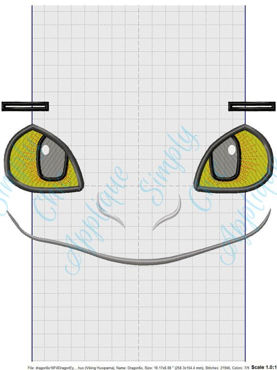 Instant Download Toothless Dragon Face by SimplyChicApplique