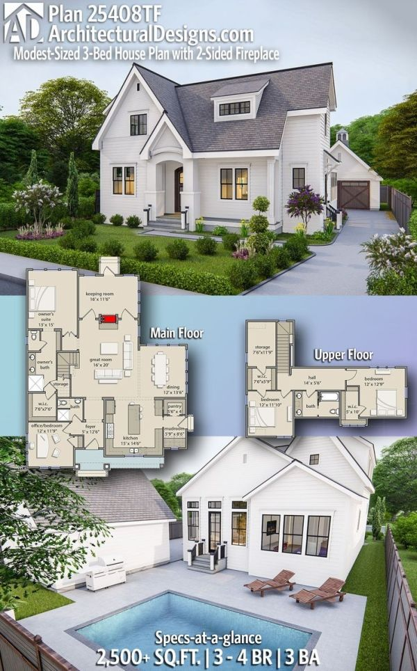 Plan 25408tf Modest Sized 3 Bed House Plan With 2 Sided Fireplace And Detached 2 Car Garage Sims House Plans Dream House Plans House Plans