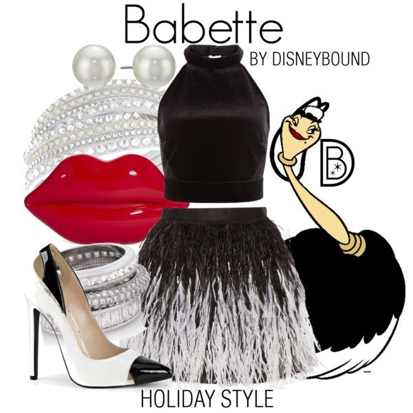 Babette by leslieakay on Polyvore featuring Alice + Olivia, Lulu Guinness, Swarovski, Henri Bendel, Kenneth Jay Lane, Disney, Christmas, disney, disneybound and disneycharacter