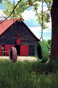 A barn and swing, life is good!: Old Tired, Tired Swings, The Farms, The Simple Life, Farms Life, Paintings Tired, Red Barns, Tire Swings, Old Barns