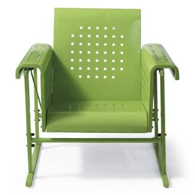 Rock your way back in time, with mid-century inspired style: our Retro Squares Single Glider offers timeless charm paired with contemporary comfort    and smooth springing action. Each is crafted from quality, heavy-gauge steel with a bright powdercoat finish. So there's no time like the present to select    your favorite color, and soon you'll be relaxing on your porch or patio with friends and neighbors in classic comfort and style.            Classic outdoor spring chair with a...