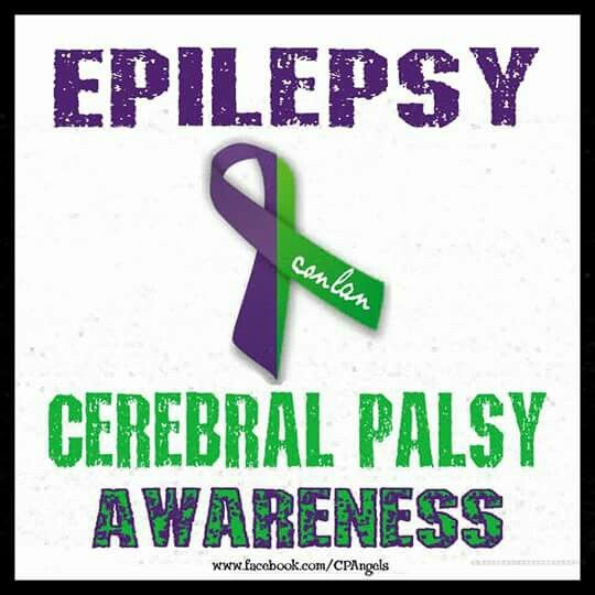 Epilepsy and Cerebral Palsy Awareness Ribbon.