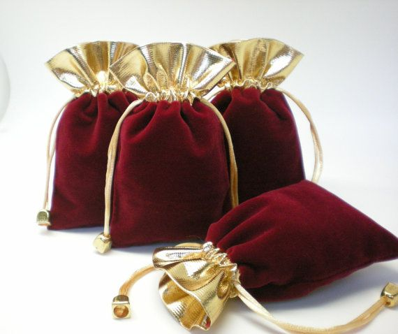 4 Wine Velvet Golden Patch workDrawstring bags ♥ by eSilkroad, $3.80