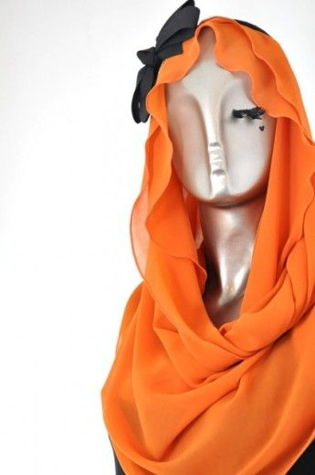 Frilly Loop-Orange - Loops - Online Collection   Online Hijab Store in Singapore  Shawl   Hoodies   Hijabfashion 