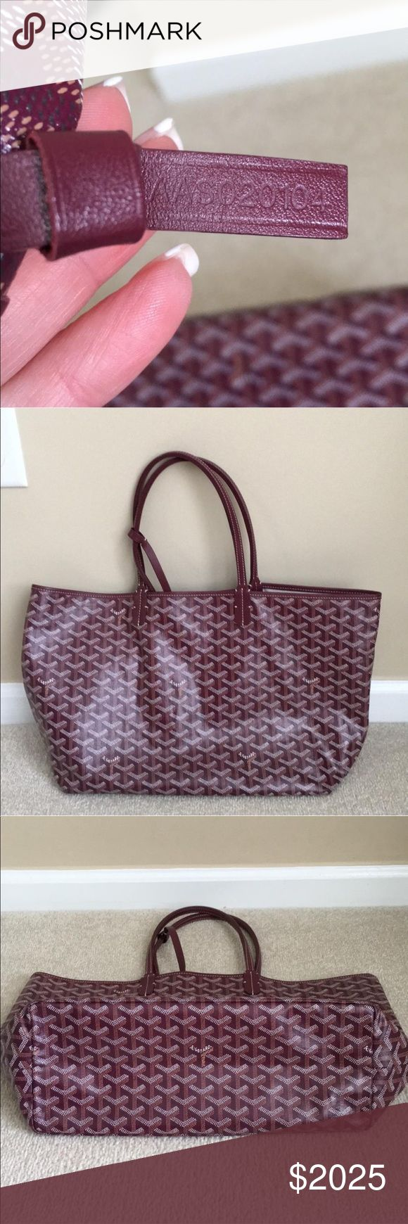 Authentic St Louis PM tote. Like new. 100% Authentic Burgundy Goyard St Louis Tote. With mini pouch.  Barely used - shows no signs of wear.  19 x 6 x 9  Purchased at Barneys NY Goyard Bags Totes