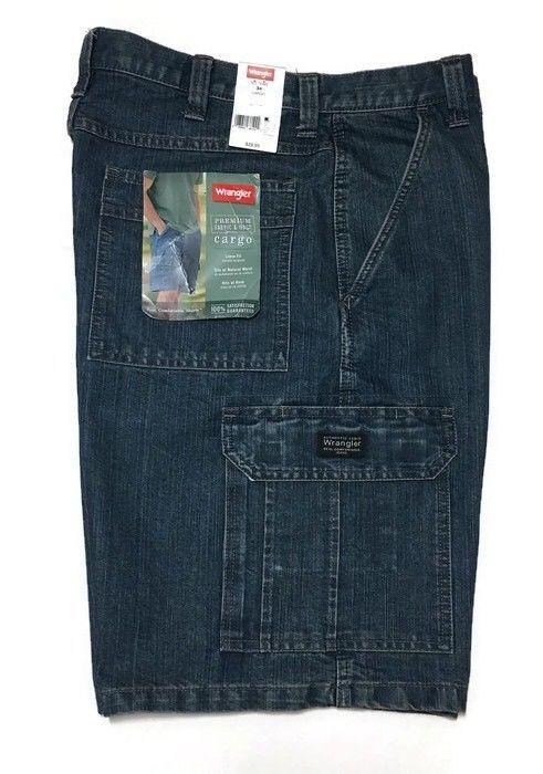 MENS WRANGLER PREMIUM DENIM STRAIGHT LEG RELAXED FIT BLUE DARK WASH NEW PANTS