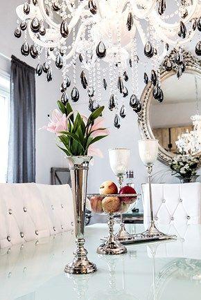 Elegant vase i sølv med krystaller Lene, stor