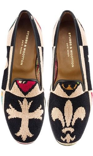 obsessed with these crest needlepoint slippers from stubbs & wootton