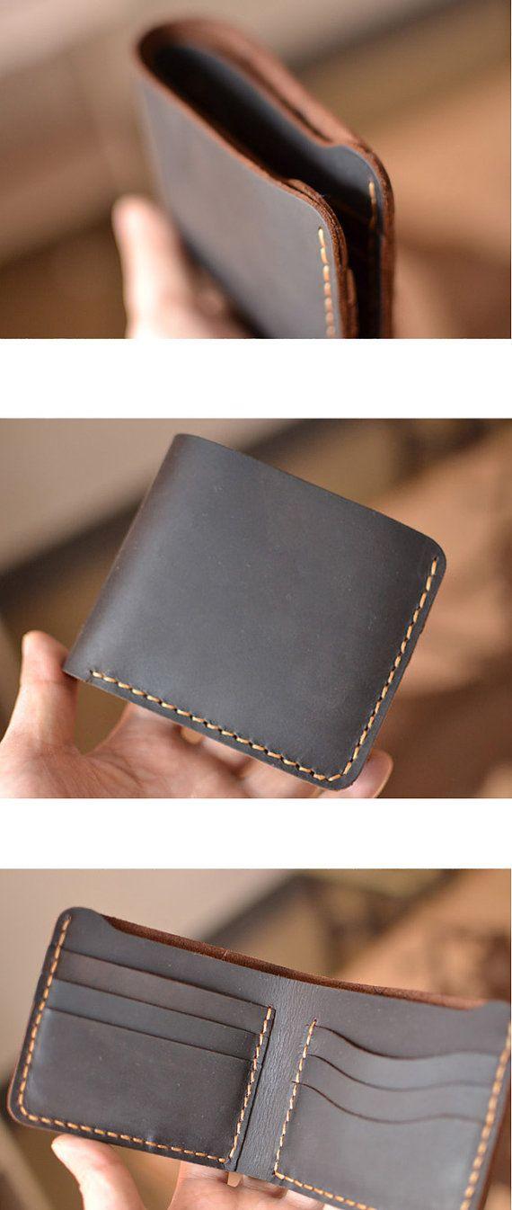 Cartera hecha a mano para hombre cuero cartera mano coser bifold marrón cartera billetera de cuero regalo monedero vintage de billetera de los hombres #W01