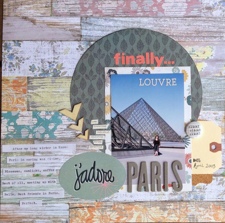 Paris scrapbooking layout by Kate van der Pol, using Polly! Scrap Kits April 2014 French Kiss kit.  #scrapbooklayout #pollyscrap