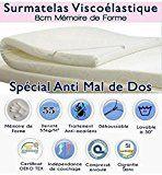 Surmatelas 100 % Memoire de Forme Dorsaltherapy 140x190x8cm - 8cm Réels - Efficace contre sciatiquehernie discale lombalgiefibromyalgieetc..