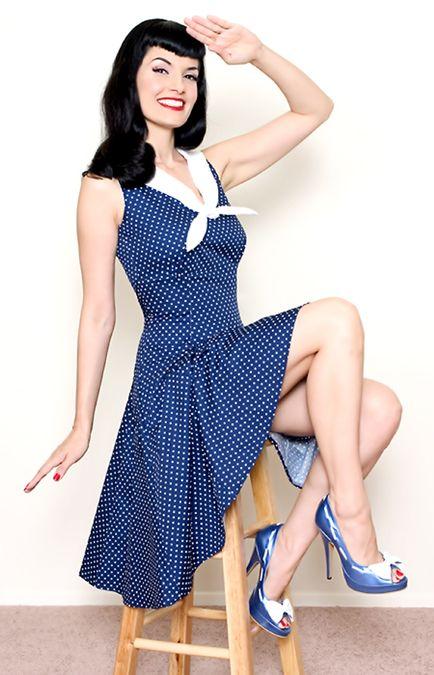 Heartbreaker Navy 50's Style Sailor Style Swing Dress - XS to XL - Unique Vintage - Prom dresses, retro dresses, retro swimsuits.