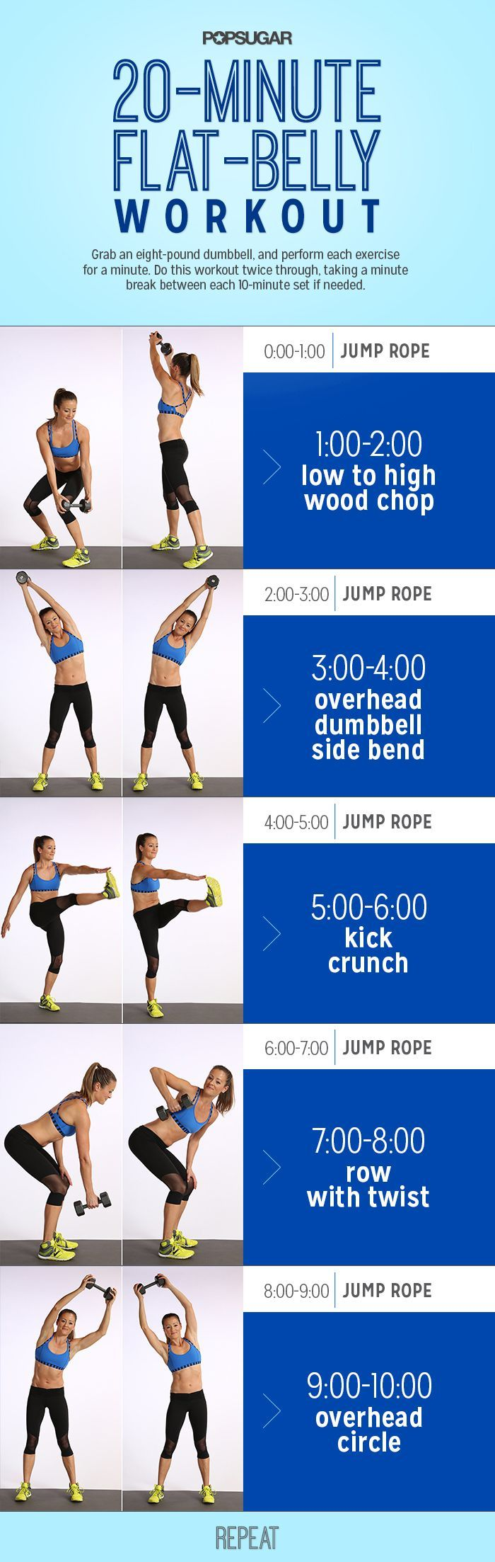 Combine cardio with core work to reap the flat-belly benefits of both types of sweat sessions. This workout alternates between jumping rope and standing ab moves, so you can tone your belly while burning serious calories in just 20 minutes!