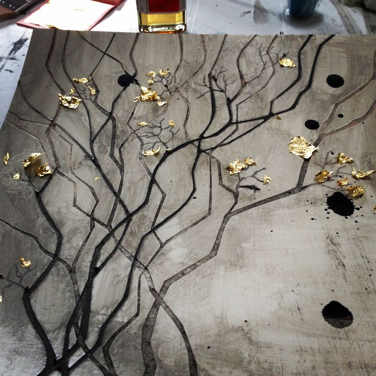 Working with #gold leafs. A #paperwork made by#aharkes. #paperart #art www.aharkes.dk