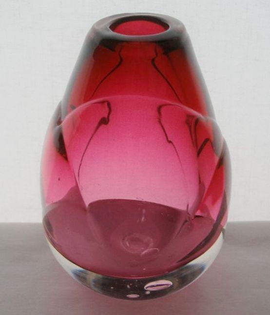 Beautiful SIGNED Pati Cava GLASS VASE 1990 Modern CURVED Designs ROSE Hues