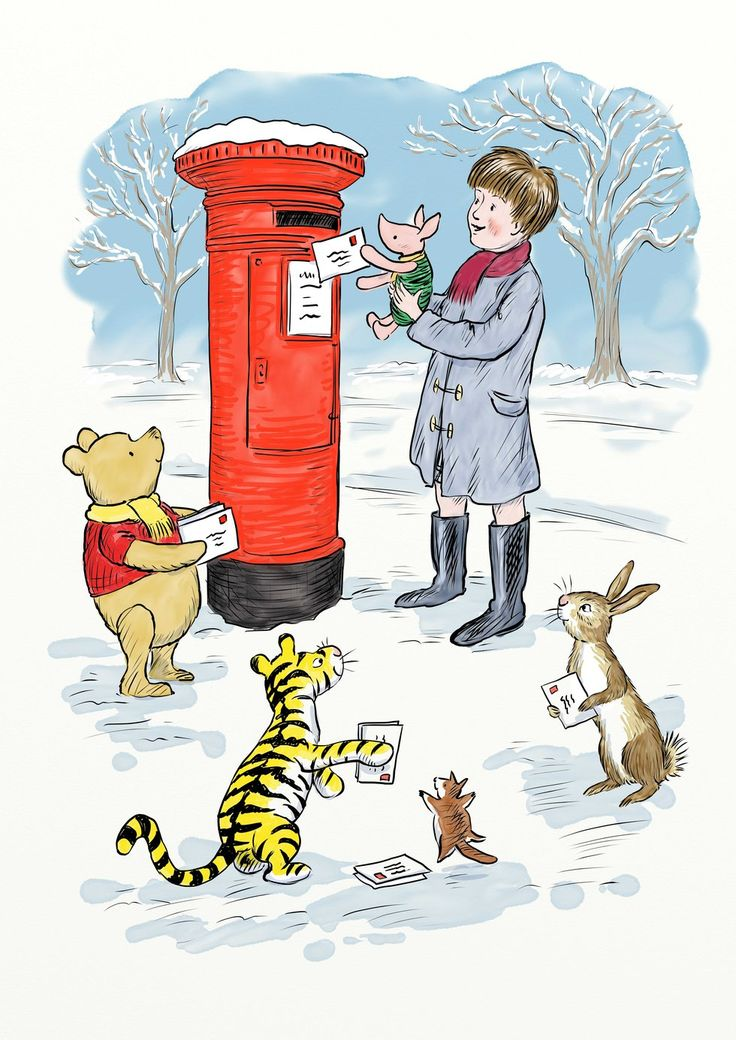 """The large hole in the post box reminded Winnie-the-Pooh of Rabbit's home, so he asked """"Rabbit, do any of your friends live inside there and do they mind if we put Christmas cards in their home?"""" Rabbit said in a matter-of-fact way. """"Of course rabbits don't go about living in post boxes. The constant interruption of post would be very inconvenient."""""""
