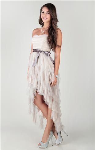 strapless homecoming dress with high low hem and glitter @Deb Shops $74.90 website: http://www.debshops.com/strapless-homecoming-dress-with-high-low-hem-and-glitter/1000049684,default,pd.html?cgid=3272