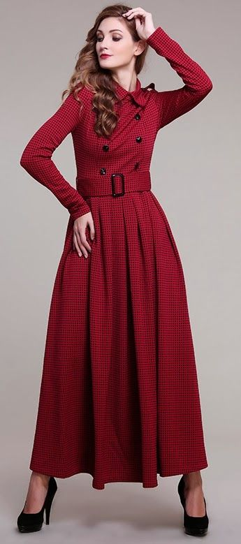 British Invasion | Scottish style dress for cold seasons | Perfect for winter overseas | Winter Dress | Hijab Fashion, Hijab Style | Crimson Buttons Sleeved Winter Maxi Dress | Duchess Fashion: Malaysia Online Clothes Shopping: Long Sleeve Maxi | pinterest.com/2twinsdna/hijab-lookbook