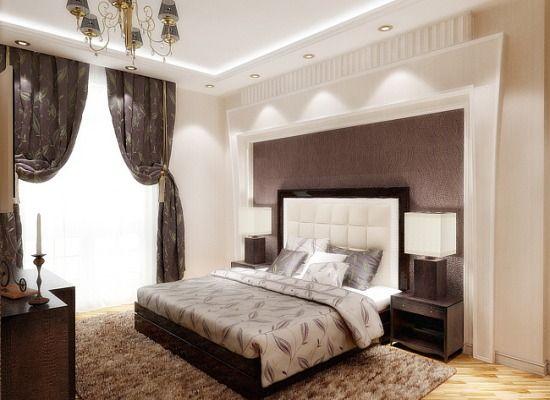 спальня модерн бежевая - бежевые стены и шоколадный бек с подсветкой