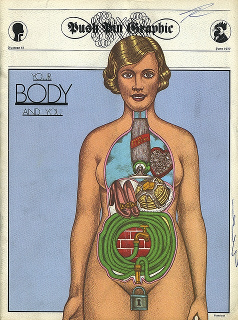 cMag389 - Push Pin Graphic Magazine cover by Seymour Chwast / Your Body and You / Number 67 / November 1977