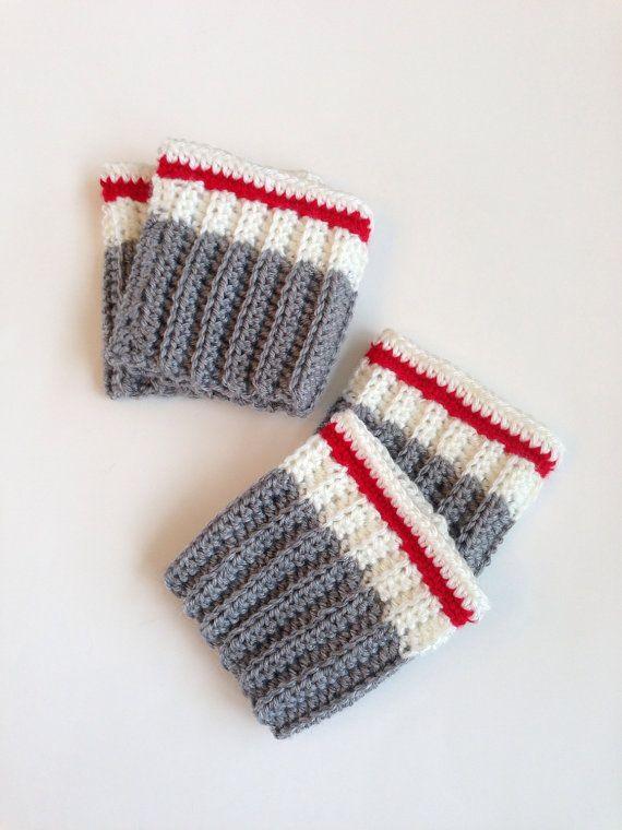 Crochet Pattern - Work Sock / Sock Monkey Boot Cuffs by OnePaisleyPig on Etsy                                                                                                                                                                                 More