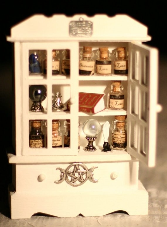 Dollhouse Miniature  White Magick Pagan Witch Cabinet by mystere, $60.00