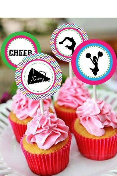 cheerleading party cupcake toppers | Cheerleading Themed Printable Cupcake by MyPerfectPartyStudio